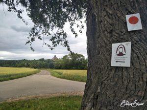 Schild auf der 6. Etappe des Hildegardweges: Weg nach Sponheim.