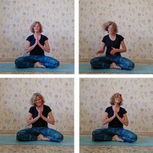 4x Namaste mit Selbstauslöser.